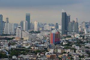 Ferris wheel in Bangkok City at sunset, Thailand