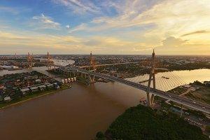 Bhumibol Bridge at sunset, Bangkok City, Thailand