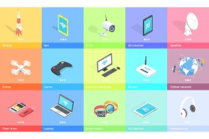 Electronic Gadgets Collection Colorful Poster