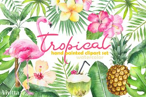 Watercolor Tropical set.