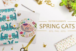 Vector Spring Cats and Plants