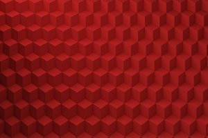 Red Cubes pattern, 3d render illustration