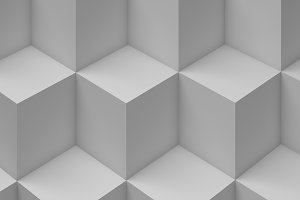 White Cubes pattern, 3d render illustration