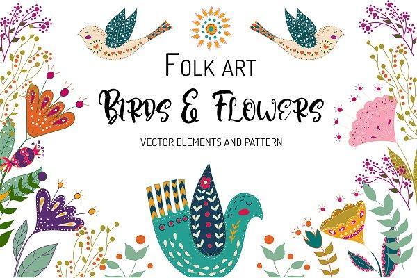 Folk art Birds and Flowers