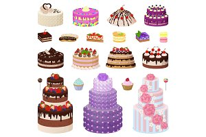 Collection of Tasty Cakes on Vector Illustration