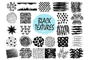 Black Textures Samples on Vector Illustration