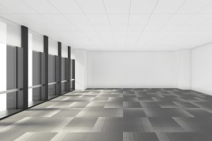 empty room in office corporate with windows, 3d render interior design, mock up illustration