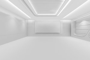 Futuristic empty room, 3d render interior design, white mock up illustration