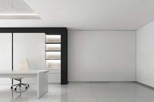 CEO room office corporate, 3d render interior design, mock up illustration