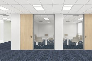 office corporate design, 3d render interior design, mock up illustration