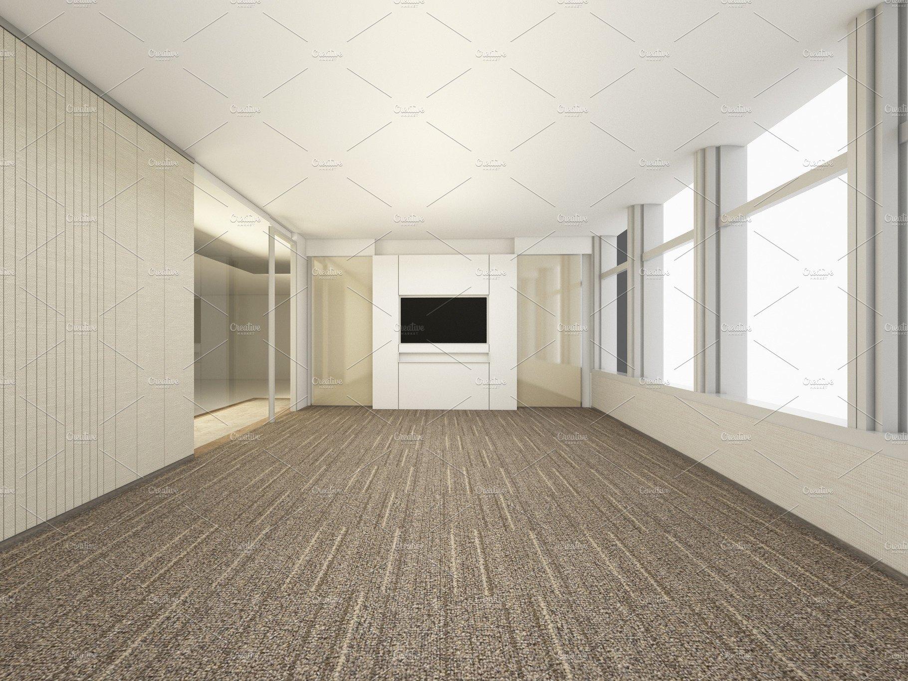 . Luxury White Empty room  3D Rendering Meeting Room  Interior design  illustration