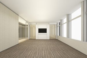 Luxury White Empty room, 3D Rendering Meeting Room, Interior design illustration