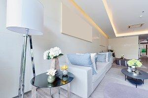white luxury modern living interior and decoration, interior design