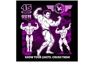 Bodybuilder sportsman vector muscular man fitness male. Strong athlets model posing.