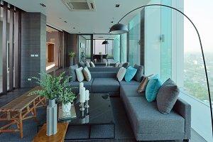 luxury modern living room interior and decoration, interior design