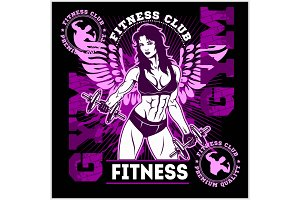 Fitness Club or Center emblem with training Woman holds dumbbells.