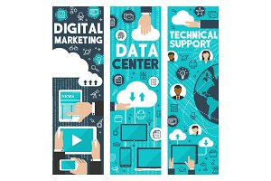 Digital marketing data web center vector banners