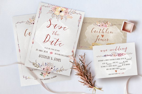 Invitation Templates: KlapauciusCo - Boho Flower Wedding Suite