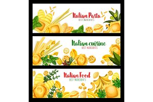 Vector banners for Italian pasta cuisine