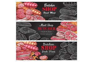 Butcher shop vector sketch fresh meat banners
