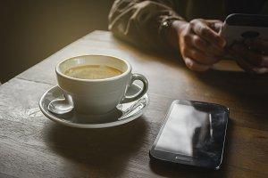 Art-shaped pattern of coffee latte