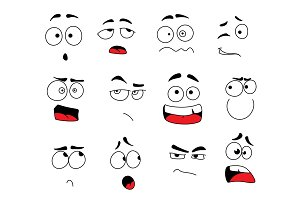 Vector smile emoticons or emoji faces icons set