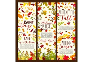 Autumn or fall seasonal vector banners set