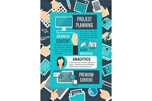 Project planning internet search vector poster