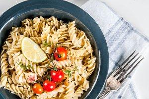 Classic italian pasta fusilli