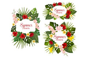 Vector summer tropical exotic flowers icons