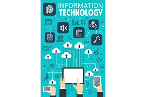 Information technology web internet vector poster