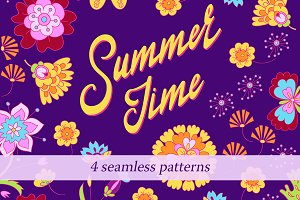 4 Summer Bright Seamless Patterns