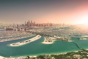 Dubai skyline from Palm Island at su