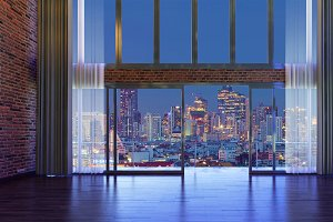 loft style interior design windows in a hotel  at night with curtains and city background, 3d rendering illustration