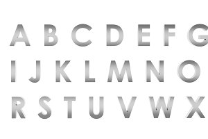 3D Rendering Stainless English alphabet a to z isolated on white background, clipping path inside