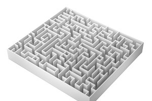 Maze isolated on white background, 3d rendering illustration