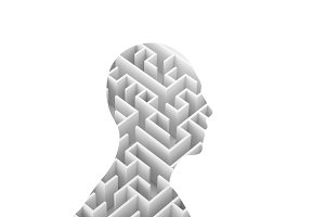Human shape and Maze isolated on white background, 3d rendering illustration