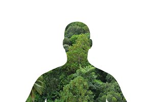Human shape and nature, protecting environment