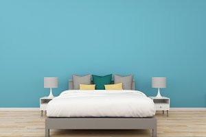 3D Rendering bedroom on colorful background, interior illustration