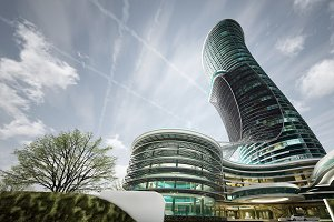 Exterior Curved Luxury Hotel design, High-Rise Building,architectural technology concept 3d rendering illustration