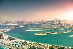 Dubai skyline from Palm Island, Unit