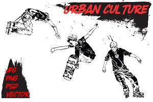 Urban culture. Rollers and skaters