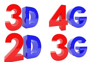 3D Rendering of 3D, 2D, 4G, 3G text isolated on white background, clipping path inside