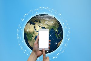 Hands touching smartphone with internet connected lines and global map background, social nets and network concept illustration, Elements of this image furnished by NASA