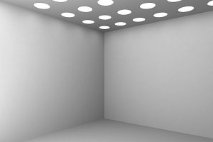 3D Rendering Corner of white empty room