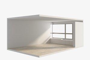 3D Rendering Isometric Empty room, interior illustration