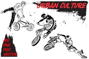 Urban culture. BMX riders