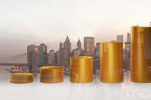 Double exposure of coins for finance and business concept