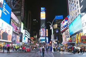May16, 2016 Times Square crowds. The site is regarded as the world's most visited tourist attraction