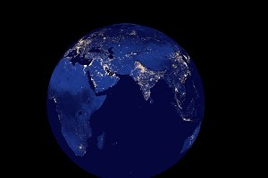 3D Rendering Planet Earth at night, globe model isolated on black Elements of this image furnished by NASA